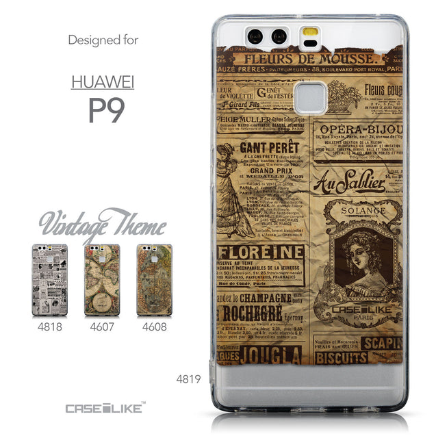 Collection - CASEiLIKE Huawei P9 back cover Vintage Newspaper Advertising 4819