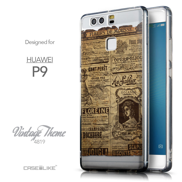 Front & Side View - CASEiLIKE Huawei P9 back cover Vintage Newspaper Advertising 4819