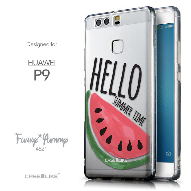 Front & Side View - CASEiLIKE Huawei P9 back cover Water Melon 4821