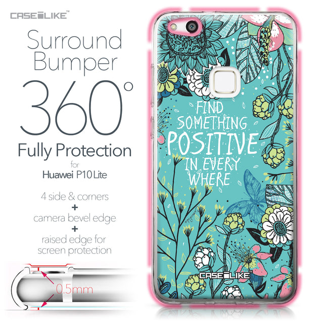 Huawei P10 Lite case Blooming Flowers Turquoise 2249 Bumper Case Protection | CASEiLIKE.com