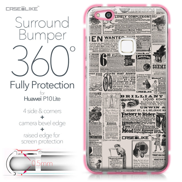 Huawei P10 Lite case Vintage Newspaper Advertising 4818 Bumper Case Protection | CASEiLIKE.com