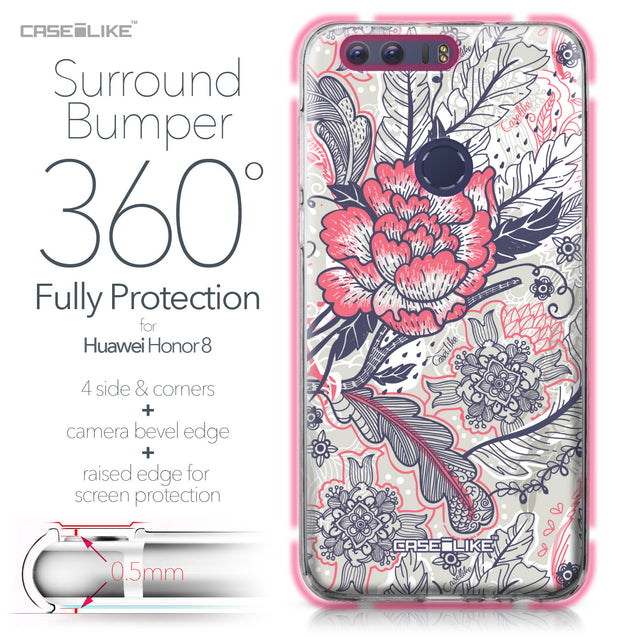 Huawei Honor 8 case Vintage Roses and Feathers Beige 2251 Bumper Case Protection | CASEiLIKE.com