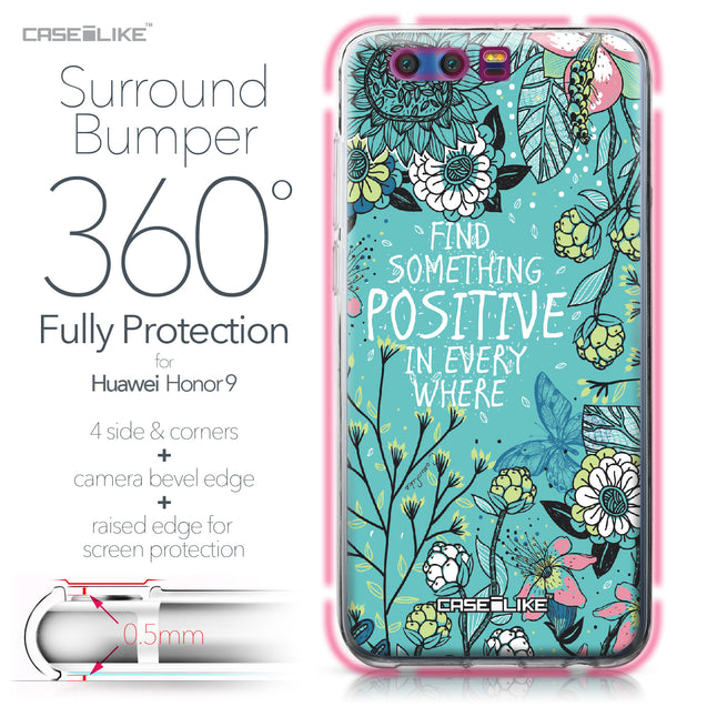Huawei Honor 9 case Blooming Flowers Turquoise 2249 Bumper Case Protection | CASEiLIKE.com