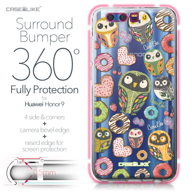 Huawei Honor 9 case Owl Graphic Design 3315 Bumper Case Protection | CASEiLIKE.com