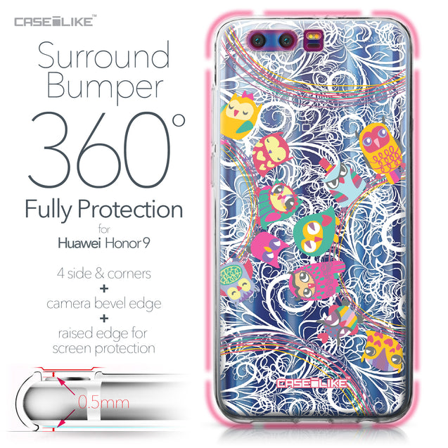 Huawei Honor 9 case Owl Graphic Design 3316 Bumper Case Protection | CASEiLIKE.com