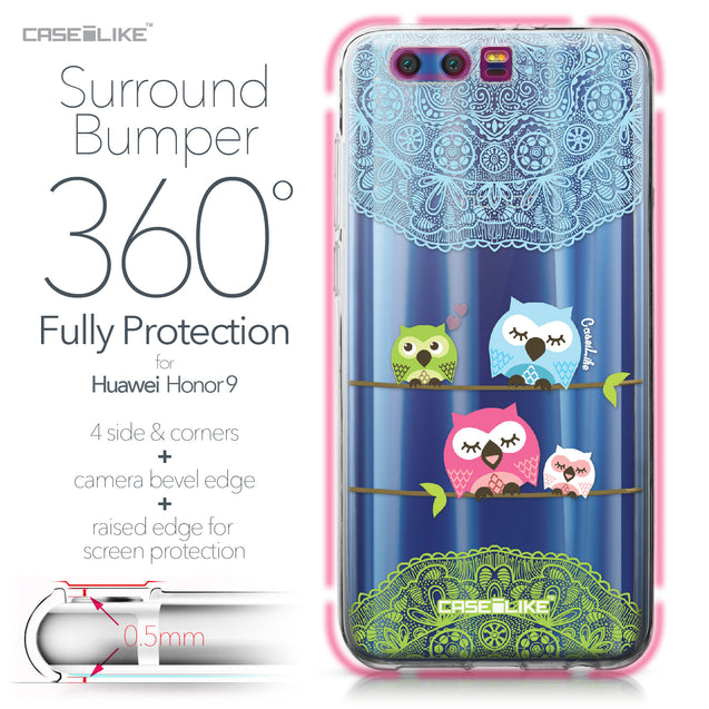 Huawei Honor 9 case Owl Graphic Design 3318 Bumper Case Protection | CASEiLIKE.com