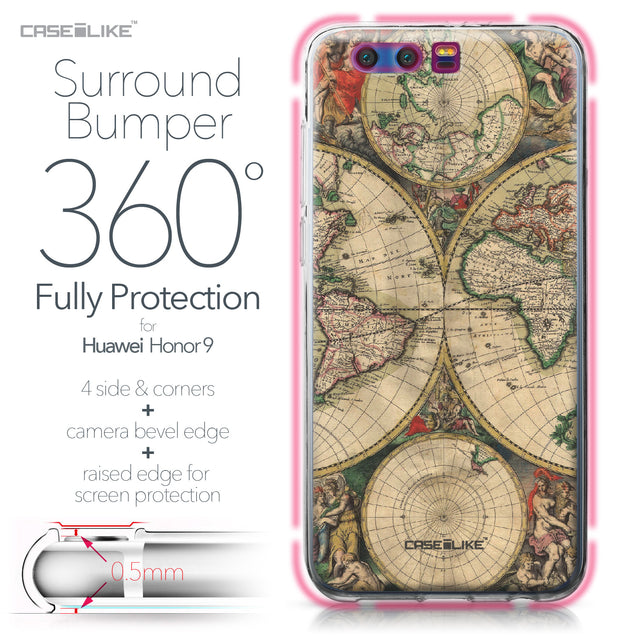 Huawei Honor 9 case World Map Vintage 4607 Bumper Case Protection | CASEiLIKE.com