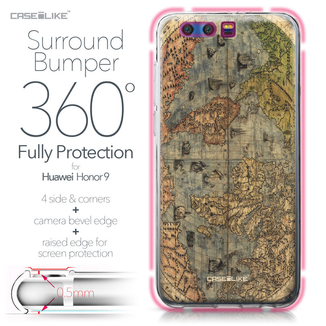 Huawei Honor 9 case World Map Vintage 4608 Bumper Case Protection | CASEiLIKE.com