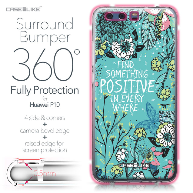 Huawei P10 case Blooming Flowers Turquoise 2249 Bumper Case Protection | CASEiLIKE.com