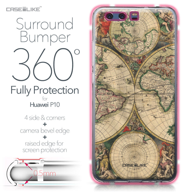 Huawei P10 case World Map Vintage 4607 Bumper Case Protection | CASEiLIKE.com