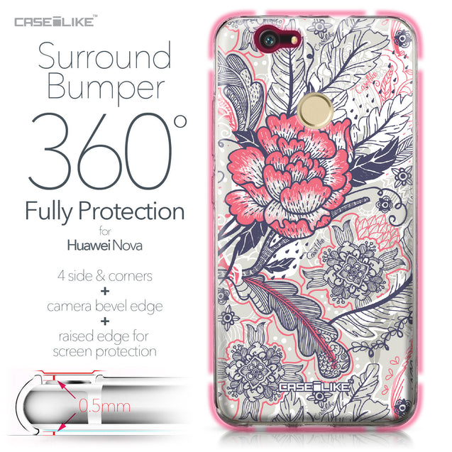 Huawei Nova case Vintage Roses and Feathers Beige 2251 Bumper Case Protection | CASEiLIKE.com