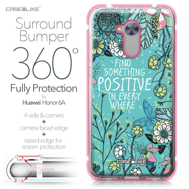 Huawei Honor 6A case Blooming Flowers Turquoise 2249 Bumper Case Protection | CASEiLIKE.com