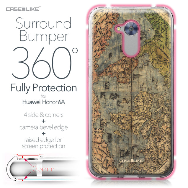 Huawei Honor 6A case World Map Vintage 4608 Bumper Case Protection | CASEiLIKE.com