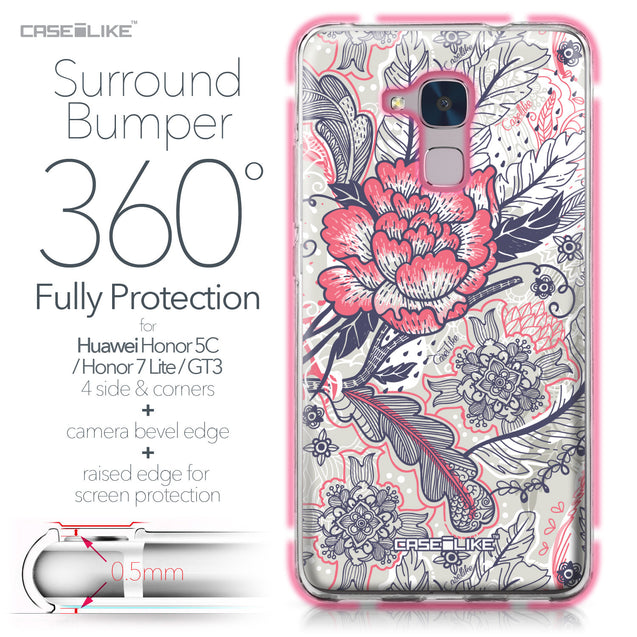 Huawei Honor 5C / Honor 7 Lite / GT3 case Vintage Roses and Feathers Beige 2251 Bumper Case Protection | CASEiLIKE.com