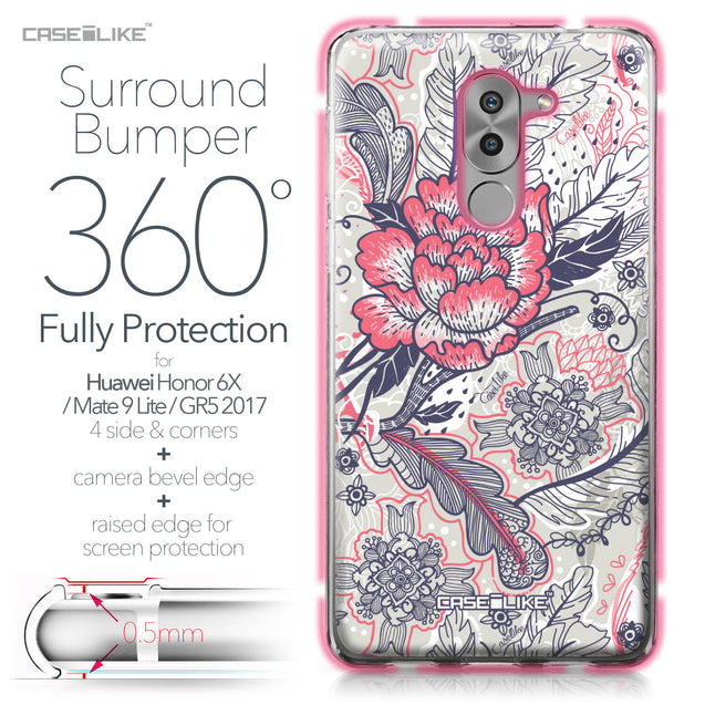 Huawei Honor 6X / Mate 9 Lite / GR5 2017 case Vintage Roses and Feathers Beige 2251 Bumper Case Protection | CASEiLIKE.com