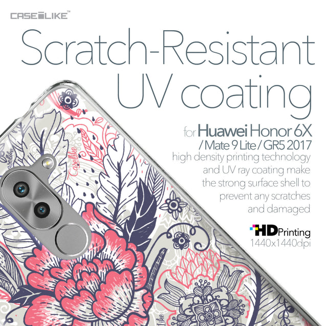 Huawei Honor 6X / Mate 9 Lite / GR5 2017 case Vintage Roses and Feathers Beige 2251 with UV-Coating Scratch-Resistant Case | CASEiLIKE.com