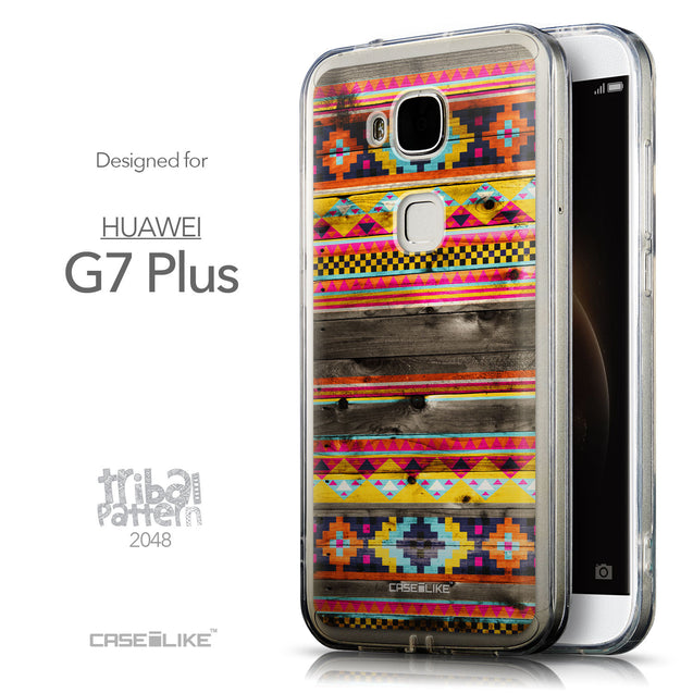 Front & Side View - CASEiLIKE Huawei G7 Plus back cover Indian Tribal Theme Pattern 2048