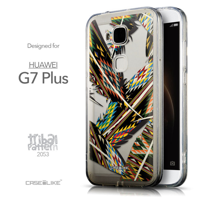 Front & Side View - CASEiLIKE Huawei G7 Plus back cover Indian Tribal Theme Pattern 2053