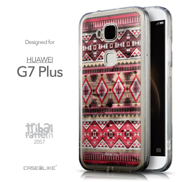 Front & Side View - CASEiLIKE Huawei G7 Plus back cover Indian Tribal Theme Pattern 2057