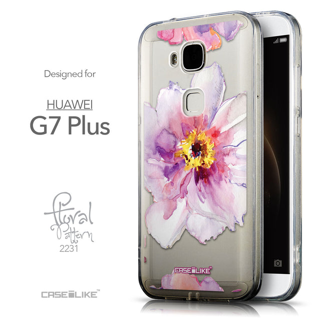 Front & Side View - CASEiLIKE Huawei G7 Plus back cover Watercolor Floral 2231