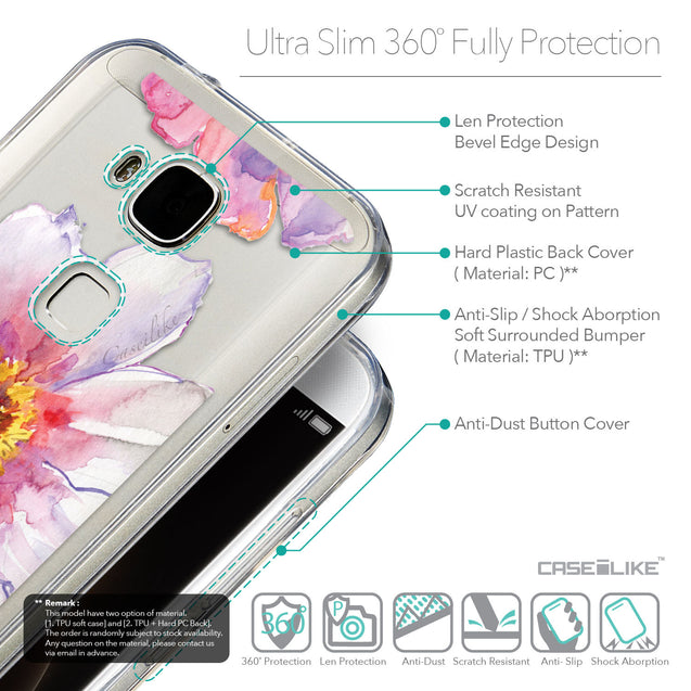 Details in English - CASEiLIKE Huawei G7 Plus back cover Watercolor Floral 2231