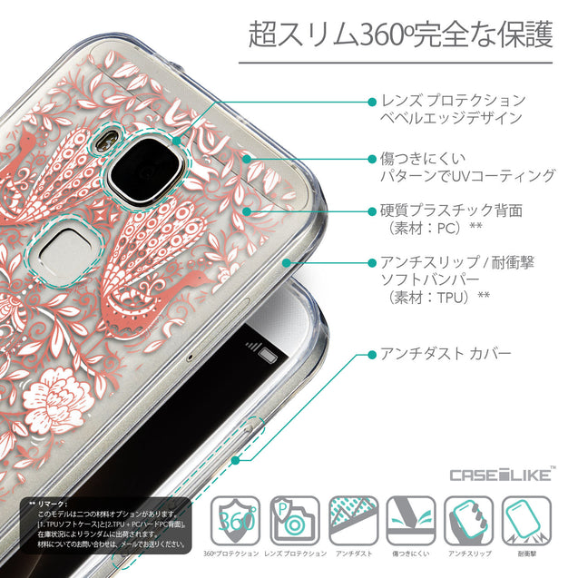 Details in Japanese - CASEiLIKE Huawei G7 Plus back cover Roses Ornamental Skulls Peacocks 2237