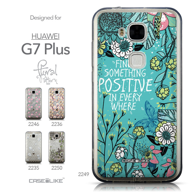 Collection - CASEiLIKE Huawei G7 Plus back cover Blooming Flowers Turquoise 2249