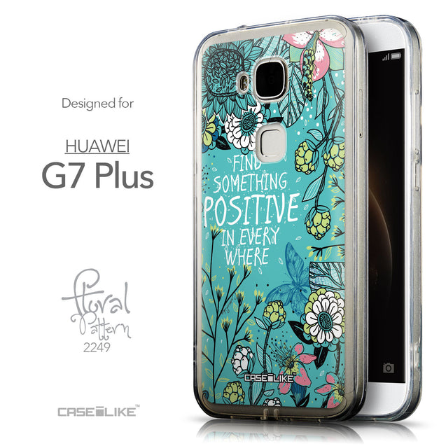 Front & Side View - CASEiLIKE Huawei G7 Plus back cover Blooming Flowers Turquoise 2249