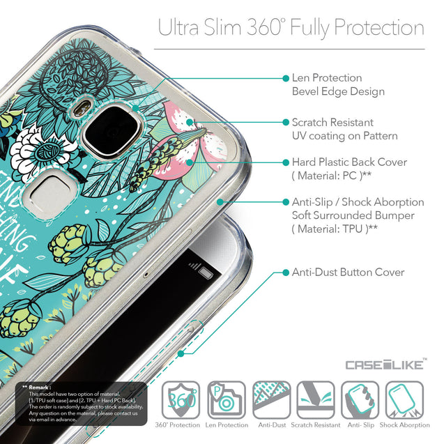 Details in English - CASEiLIKE Huawei G7 Plus back cover Blooming Flowers Turquoise 2249