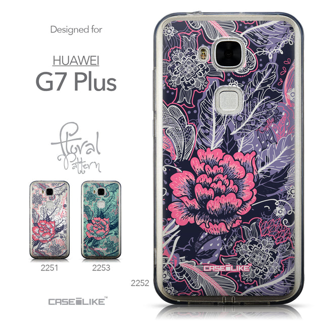Collection - CASEiLIKE Huawei G7 Plus back cover Vintage Roses and Feathers Blue 2252