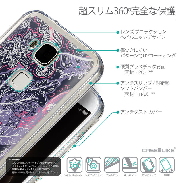 Details in Japanese - CASEiLIKE Huawei G7 Plus back cover Vintage Roses and Feathers Blue 2252