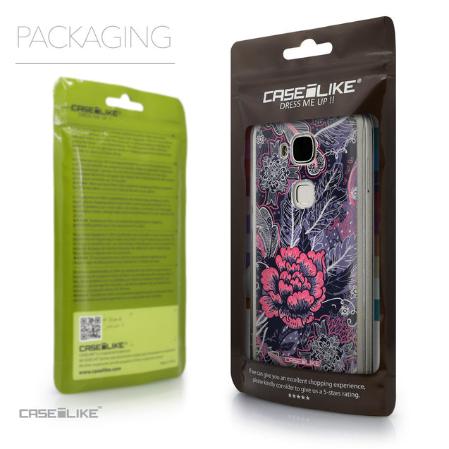 Packaging - CASEiLIKE Huawei G7 Plus back cover Vintage Roses and Feathers Blue 2252