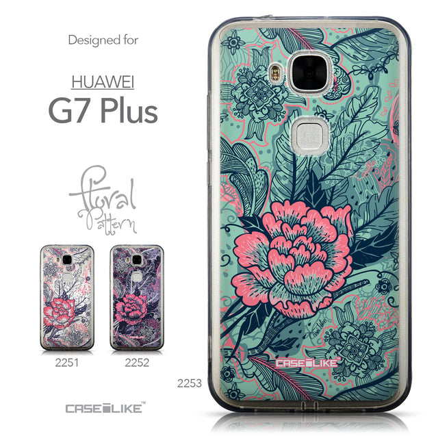 Collection - CASEiLIKE Huawei G7 Plus back cover Vintage Roses and Feathers Turquoise 2253