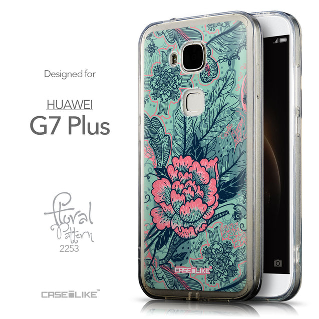 Front & Side View - CASEiLIKE Huawei G7 Plus back cover Vintage Roses and Feathers Turquoise 2253