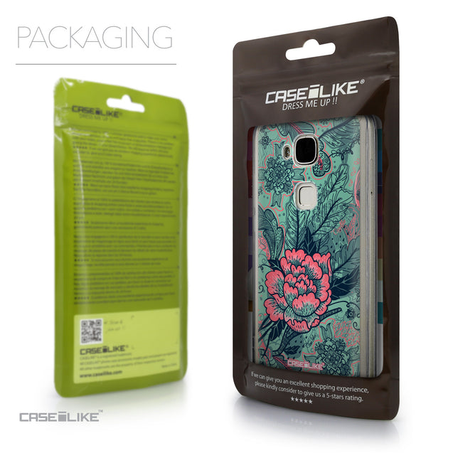 Packaging - CASEiLIKE Huawei G7 Plus back cover Vintage Roses and Feathers Turquoise 2253