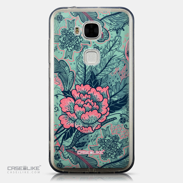 CASEiLIKE Huawei G7 Plus back cover Vintage Roses and Feathers Turquoise 2253