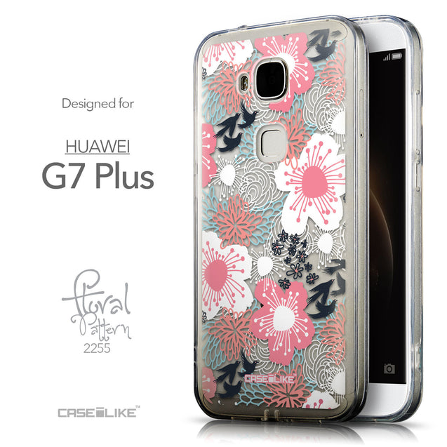 Front & Side View - CASEiLIKE Huawei G7 Plus back cover Japanese Floral 2255