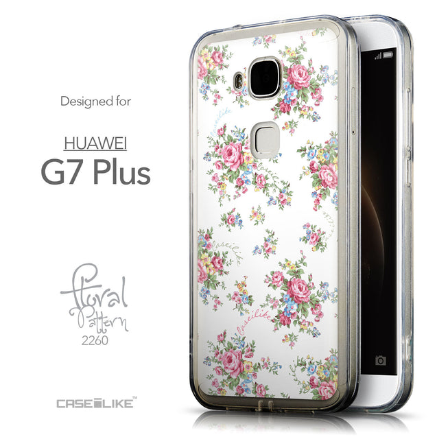 Front & Side View - CASEiLIKE Huawei G7 Plus back cover Floral Rose Classic 2260