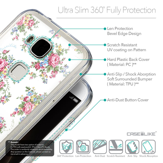 Details in English - CASEiLIKE Huawei G7 Plus back cover Floral Rose Classic 2260
