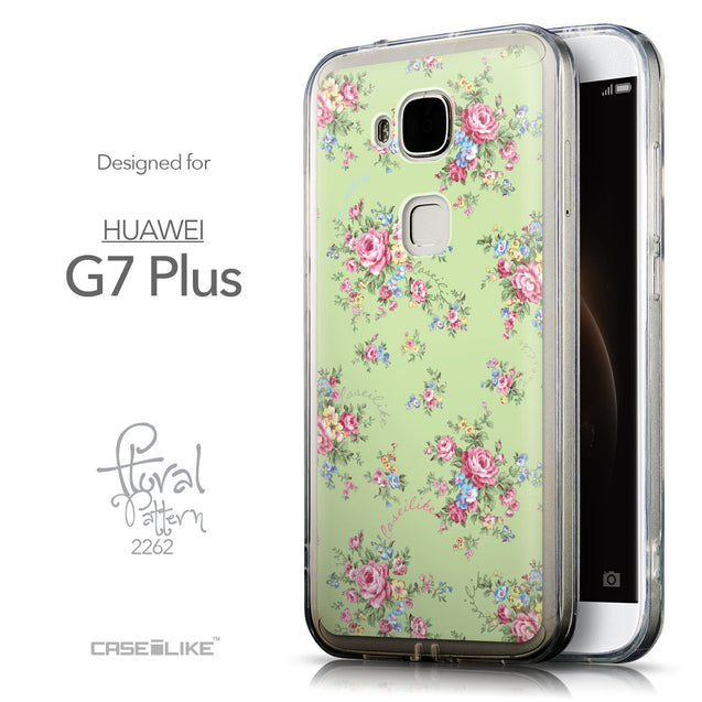 Front & Side View - CASEiLIKE Huawei G7 Plus back cover Floral Rose Classic 2262