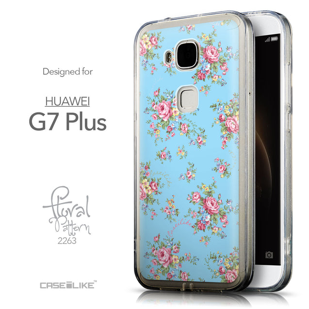 Front & Side View - CASEiLIKE Huawei G7 Plus back cover Floral Rose Classic 2263
