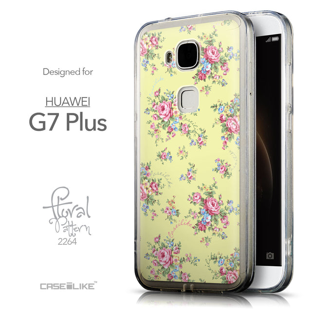 Front & Side View - CASEiLIKE Huawei G7 Plus back cover Floral Rose Classic 2264
