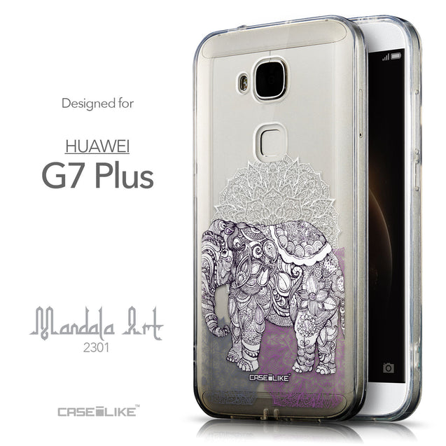 Front & Side View - CASEiLIKE Huawei G7 Plus back cover Mandala Art 2301
