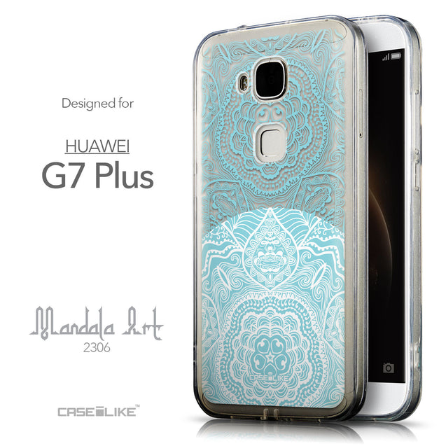 Front & Side View - CASEiLIKE Huawei G7 Plus back cover Mandala Art 2306