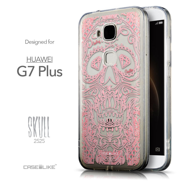 Front & Side View - CASEiLIKE Huawei G7 Plus back cover Art of Skull 2525