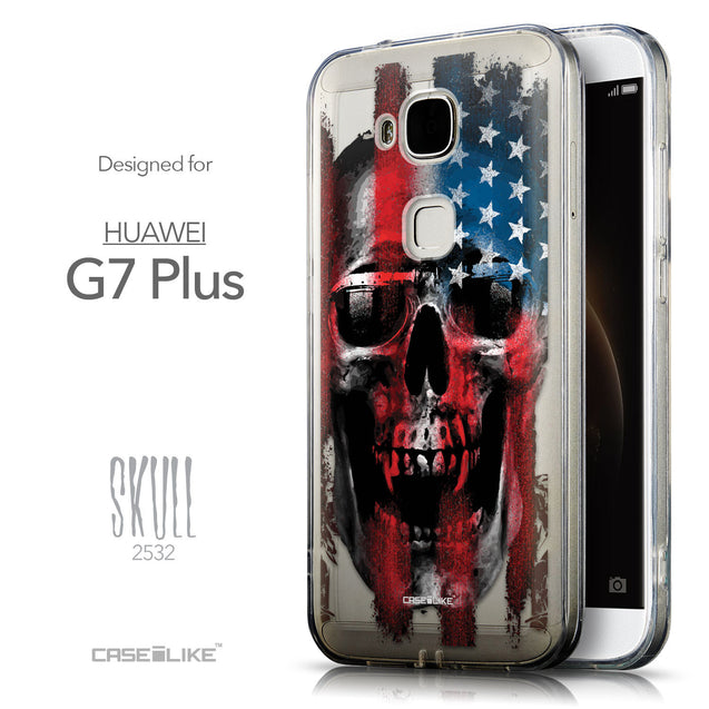 Front & Side View - CASEiLIKE Huawei G7 Plus back cover Art of Skull 2532