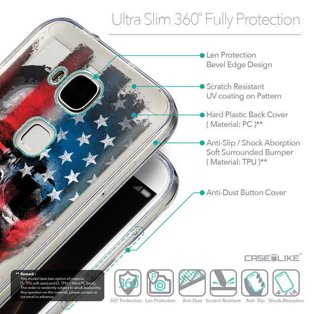 Details in English - CASEiLIKE Huawei G7 Plus back cover Art of Skull 2532