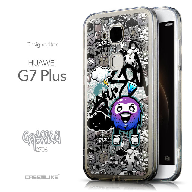 Front & Side View - CASEiLIKE Huawei G7 Plus back cover Graffiti 2706