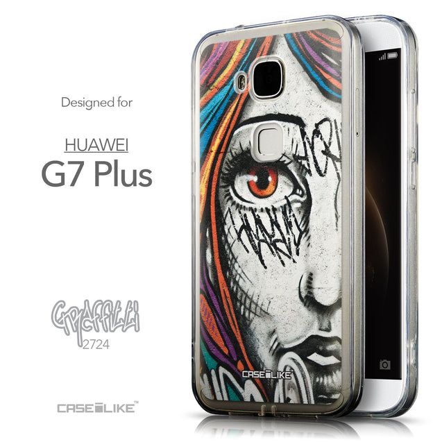 Front & Side View - CASEiLIKE Huawei G7 Plus back cover Graffiti Girl 2724