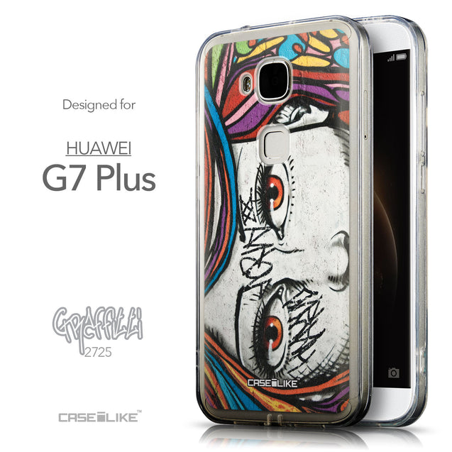 Front & Side View - CASEiLIKE Huawei G7 Plus back cover Graffiti Girl 2725